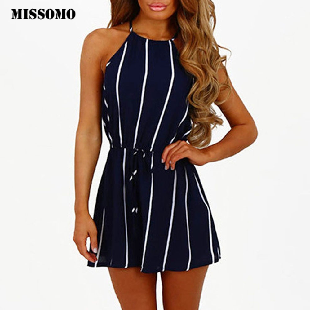 MISSOMO Women Romper Stripe Printing Off Shoulder Sleeveless Rompers Bandage Jumpsuit Playsuit Overalls Beach Body Mujer