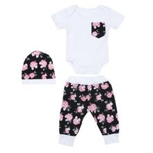 3pcs Baby Girls Summer Clothing Set Infant Short sleeved Bodysuit Floral Long Pants Hat Suit