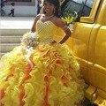Sweet 16 Vestidos Sexy Querida Beading Vestidos Quinceanera Vestidos De 15 Años Amarelo Organza Vestidos Quinceanera Barato