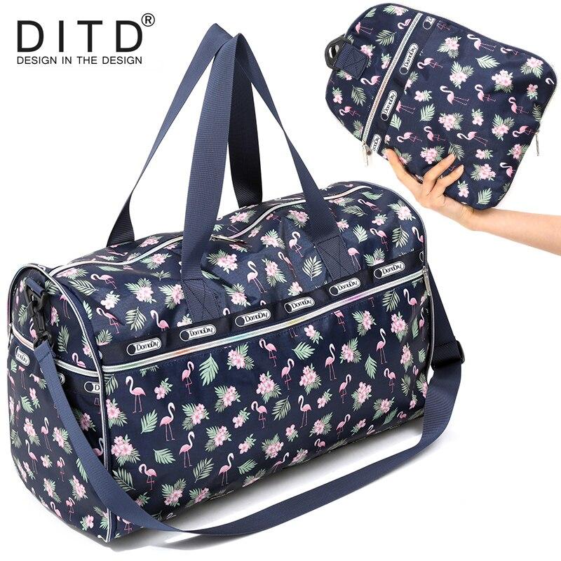 02cc8812f2d7 Складная дорожная сумка женская большая емкость переносная сумка на плечо  спортивная сумка с мультяшным принтом непромокаемая