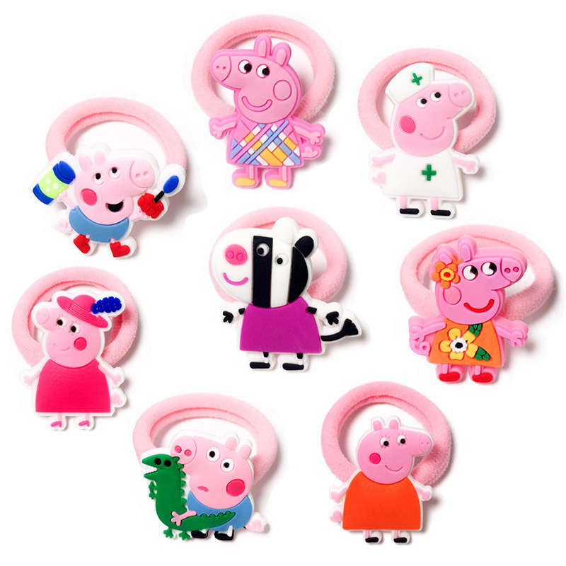 2Pcs Girls Elastic Hair Bands Fashion Cartoon kids Girls lovely hair clip& Cartoon Pig Hair Accessories candy color Rope jrfsd 7pcs set new fashion girls hair clip cartoon images hair bands princess mini dress hairgrip kids hair accessories