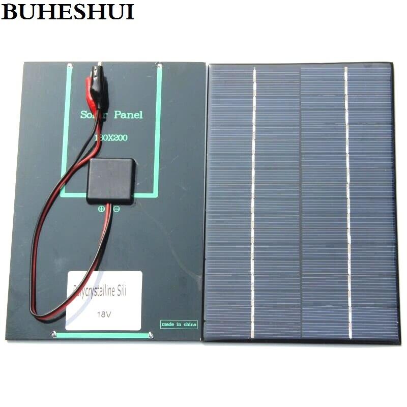 BUHESHUI 4,2 Watt 18 V Solarzellen Polykristalline Solar Panel + Krokodilklemme Für Lade 12 V Batterie 200*130*3 MM NEUES Freies Verschiffen