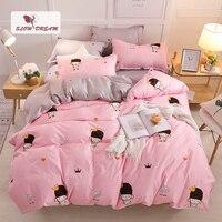 SlowDream Pink Girl Bedding Set Linen Comforter Cover Bed Sheet Bedspread For Adult Double Queen King Duvet Cover Set Bedclothes