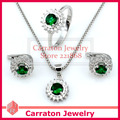 Carraton SXF3014 White Gold Plated AAA Zircons Round Emerald Green Stone Jewellery Sets