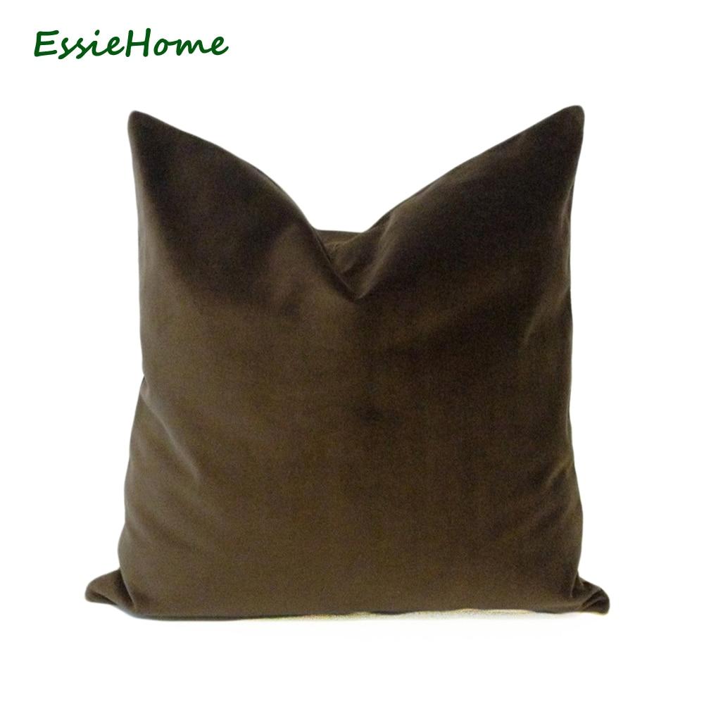ESSIE HOME Luxusní bavlněná matná sametová hnědá Latte káva Velvet polštářová obálka polštářová bedna dřevěná polštářová vložka Velvet