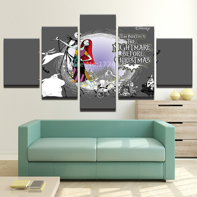 5 pieces nightmare before christmas home decor unframe modern hd printed canvas painting christmas pictures wall