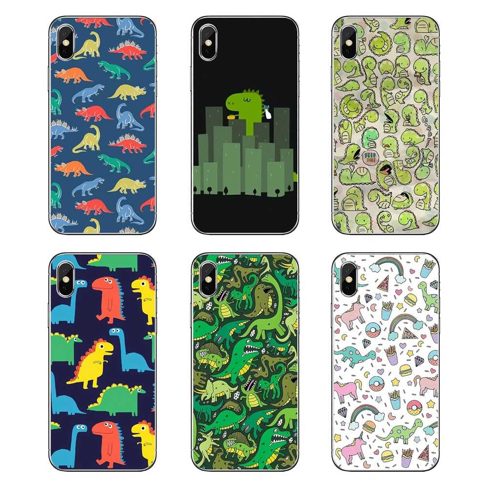 Fundas transparentes suaves para iPod Touch iPhone 4 4S 5 5S 5C SE 6 6 S 7 8 X XR XS Plus MAX kawaii dinosaurios patrón