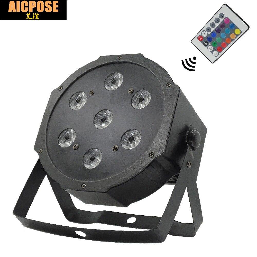 7*12w Remote  Lights 7x12W Led Par Lights RGBW 4in1 Flat Par Led Dmx512 Disco Lights Professional Stage Dj Equipment