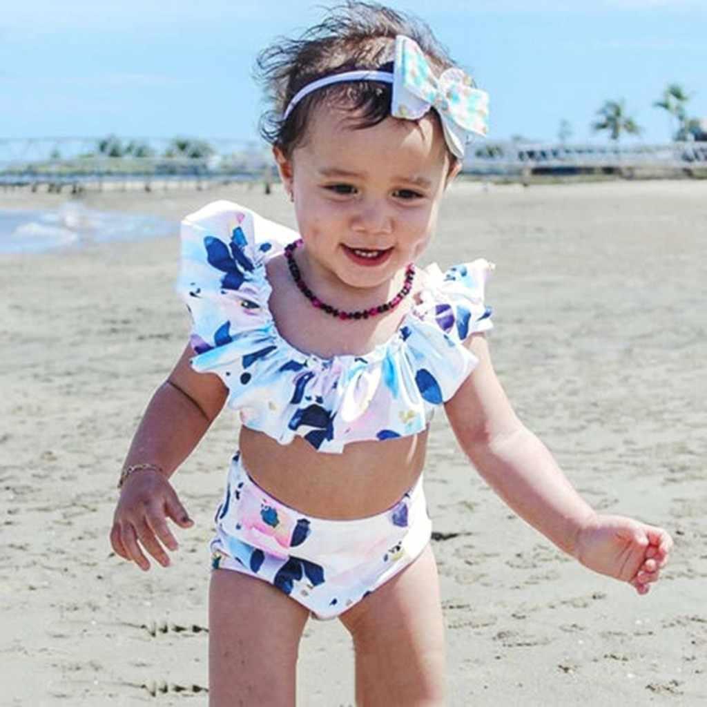 6b0da67b7cba2c Children Kids baby girl swimwear Bikini Beach Flower Swimsuit+Shorts  Swimwear Set Outfit kids swimwear
