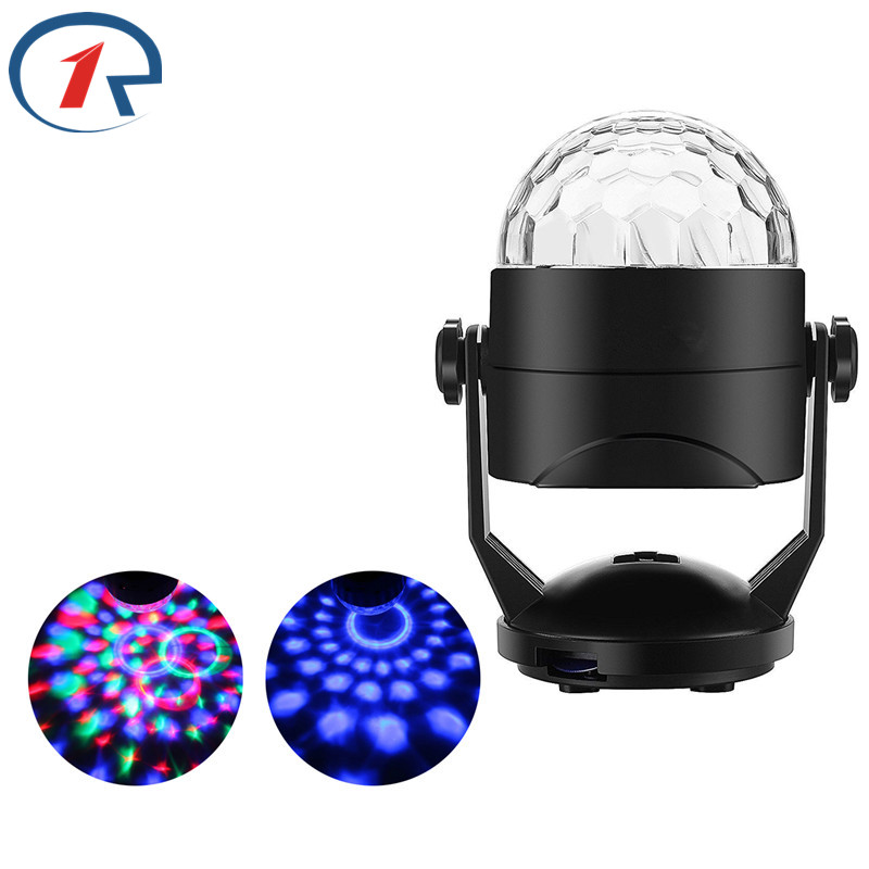 ZjRight USB 5V Auto Rotate Crystal Magic Ball stage light Battery Operated Sound Control colorful effect lights for birthday dj