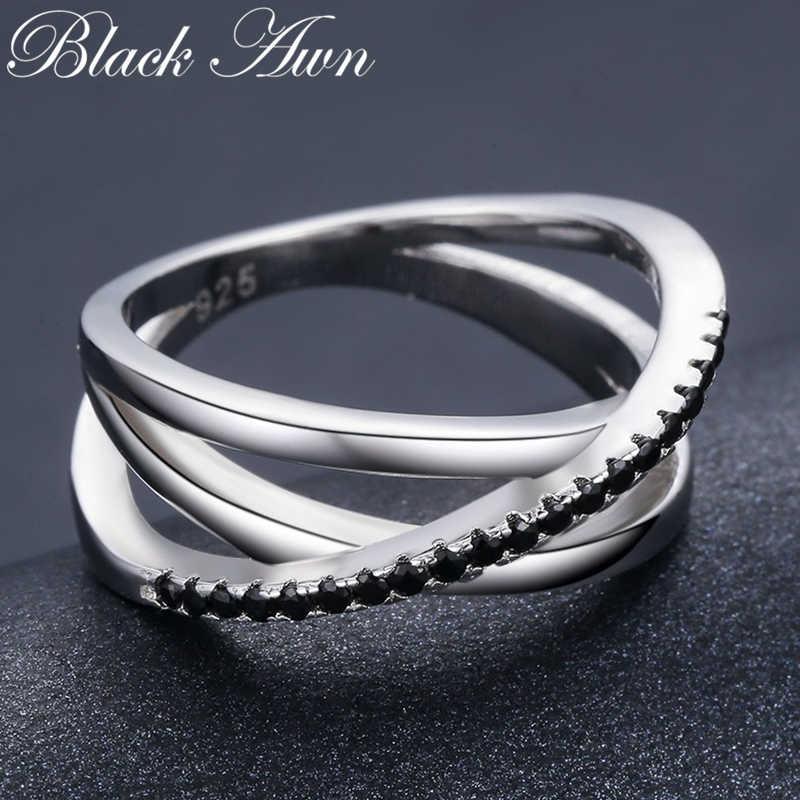 คลาสสิก 3.9G 925 เงินสเตอร์ลิงเครื่องประดับ Baguet แถวหมั้น Black Spinel แหวนสำหรับผู้หญิง Bijoux Femme G006