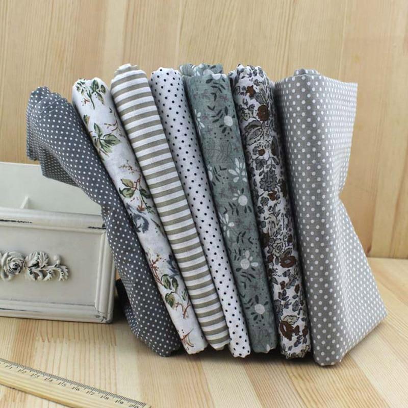 2017 7 unids 100% tela de algodón gris serie top moda tejido de costura tejido diy acolchado paquete para patchwork artesanía 25 x 25 cm