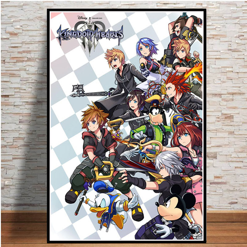 kingdom Hearts HD Print Anime Wall Poster Scroll Room Decor