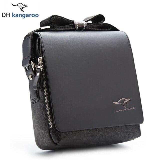 4e7a623716 Kangaroo Marca Uomini del Cuoio Genuino Crossbody Bag Moda Borse a Tracolla  da Uomo Business Casual