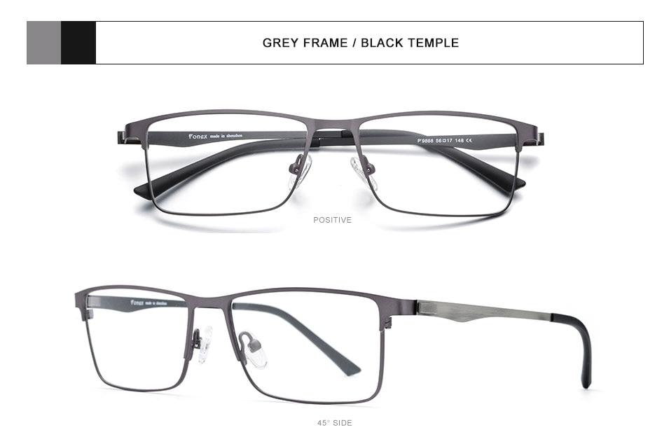 78223cad3 FONEX سبائك نظارات الإطار الرجال مربع قصر النظر النظارات الطبية 2019 ...