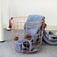 1 PCS Nordic rose gold hamper book storage box cosmetic storage basket home debris bucket AP10221743