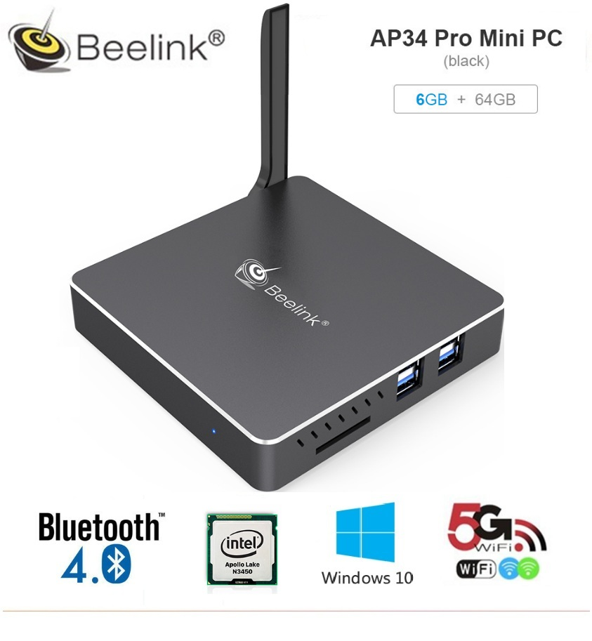 Beelink AP34 Pro Mini PC Bluetooth 4.0 TV Box 6GB 64GB Set-Top Box USB3.0 HDMI 2.4G/5.8G WiFi 1000Mbps Media Player 2016 beelink bt7 windows10 tv box intel atom x7 z8700 2 4ghz 4g 128g 1000mbps lans bluetooth 4 0 2wifi uhd 4k set top box