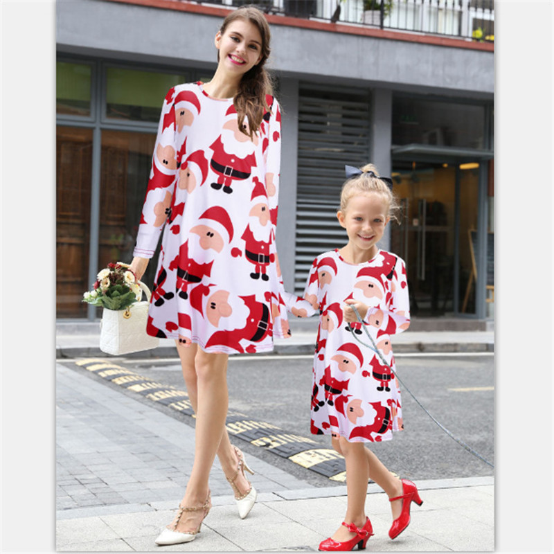 61317fba64c36 Mvupp Mom And Daughter Dress Christmas Family Matching · High Quality Long  Sleeve Family Matching Outfits Santa