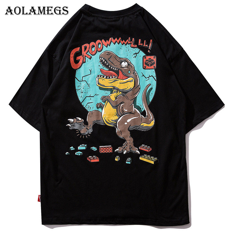 Aolamegs T Shirt Men Cartoon Dinosaur Printed Men's Tee Shirts O-neck T Shirt Fashion Hip Hop High Street Tees Summer Streetwear