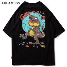 Aolamegs T-shirt Mannen Cartoon Dinosaurus Gedrukt heren Shirts O-hals T-shirt Mode Hip Hop High Street Tees zomer Streetwear(China)