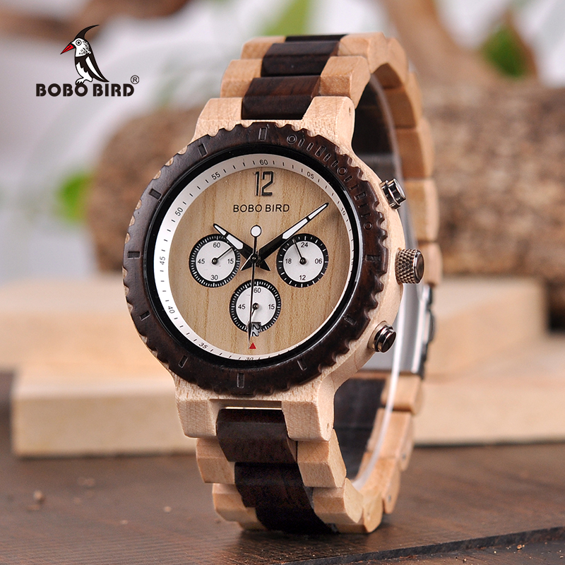 BOBO BIRD Men Wooden Watches Wood Wristwatch Male Quartz relogio masculino in Gift Box Timepieces Show date bobo bird watch men wooden metal quartz watches special design men s wristwatches in wooden box timepieces relogio masculino
