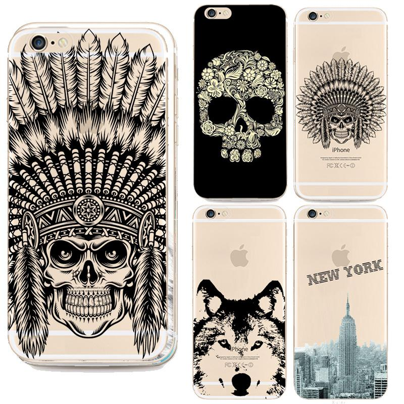 Indian Head Skull Soft TPU Phone Case Coque For Apple Iphone 5 5S Back Cover Butterfly Roses Cartoon Animal Giraffe Capa