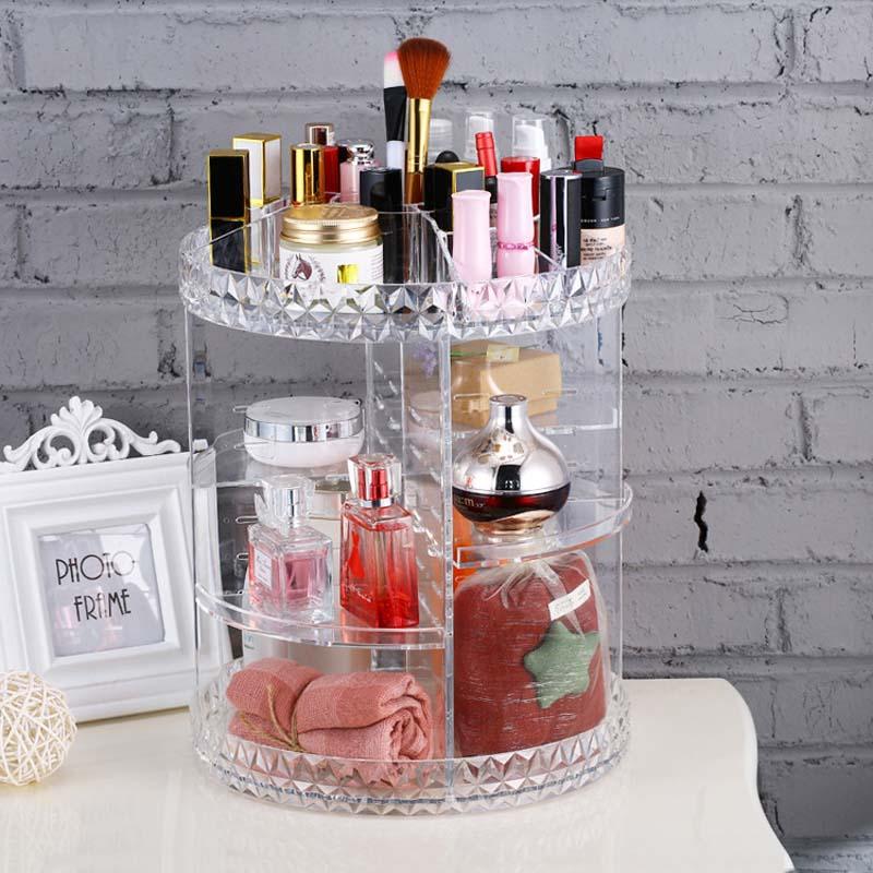 Diamond Rotation Makeyp Box Crystal Acrylic Skin Care Storage Box Organizer Makeup Holder Cosmetic Display Stand