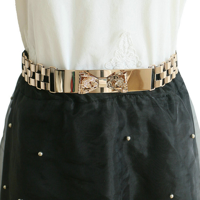 Европа мода металла бантом ремни платье аксессуары женщины сладкий просто полые золотые металла пояс эластичный пояс марка дизайн