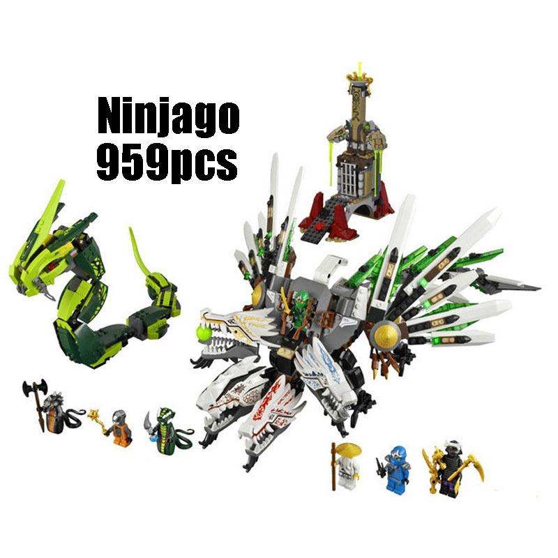 WAZ Compatible Legoe Ninjago 9450 LELE 79132 959pcs blocks Ninjago Figure Epic Dragon Battle toys for children building blocks 0367 sluban 678pcs city series international airport model building blocks enlighten figure toys for children compatible legoe