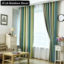 High Quality Modern blackout Curtains Striped Printed Chenille Window for Bedroom Living Room Children Panel