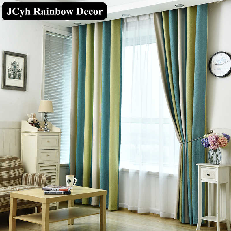 High Quality Modern Blackout Curtains Striped Printed Chenille