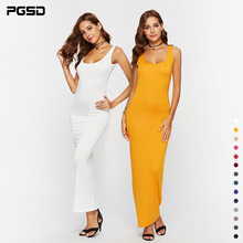 PGSD Summer casual Simple Fashion Pure Color sexy elastic slim vest Long Dress Women Bottom Pullover sling big size clothes 4XL