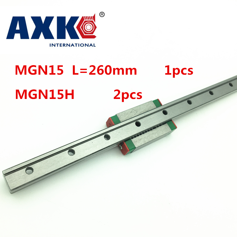 2018 New Real Linear Rail Cnc Router Parts Axk Linear Guide Mgn15 L= 260mm Rail + 2pcs Mgn15h Cnc Block 2pcs lot sk35 35mm linear rail shaft guide support cnc brand new