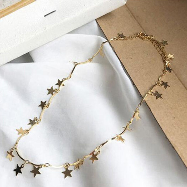 Women Gold Star Necklace Pendant Fashion Clavicle Chain