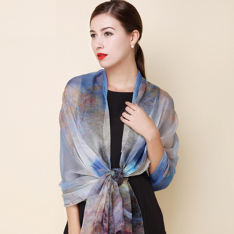 High quality winter 100% real silk scarf Shawl hijab wrap ...