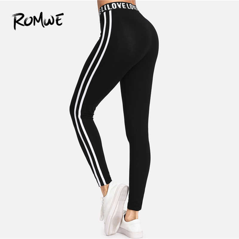 ceca9956b0 ... Romwe Sport Letter Print Waist Two Stripes Side Women Black Yoga Pants  Stretchy Training Active Wear ...