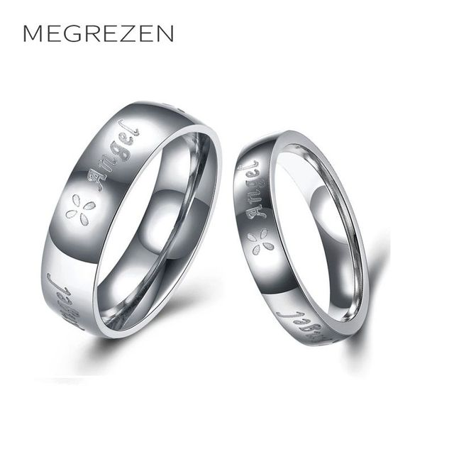 MEGREZEN Paired Stainless Steel Rings For Men Women Engagement Ring Set  Jewelery Sale Anillos Acero Inoxidable Mujer R1656-5 2781ac47099