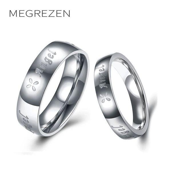 6f0b27b2e517 Megrezen emparejado Acero inoxidable Anillos para hombres mujeres anillo de  compromiso joyería venta anillos Acero inoxidable