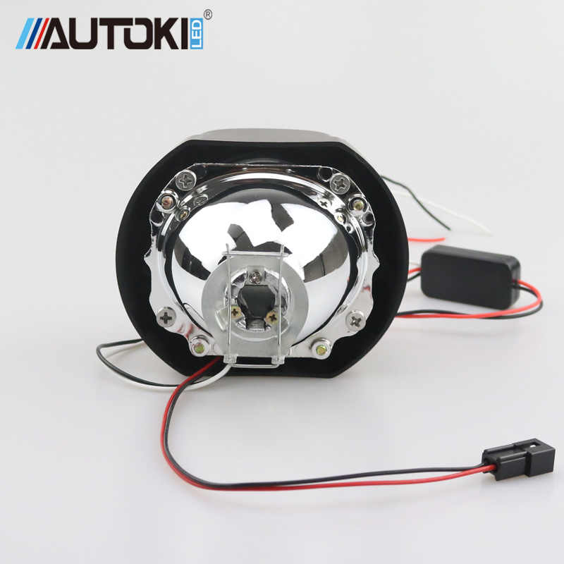 Autoki Praça LED Angel Eyes Bi xenon Lente Do Projetor Do Farol para o Carro Do Retrofit DIY W/Luzes Diurnas 2.5 ''H4 H7