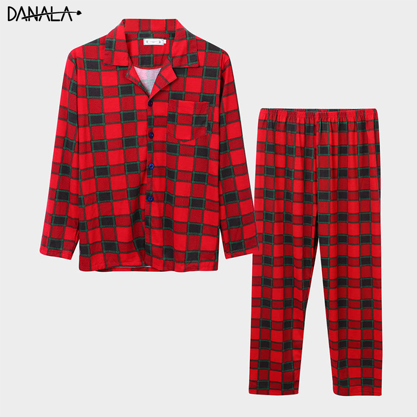 DANALA Man Cotton Christmas Plaid Couple Pajamas Sets Turn-Down Collar Long Sleeve Sleepwear Home Suits