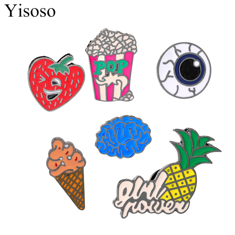 Yisoso JEWELRY Cute Cartoon Brain Eyeball Pineapple Strawberry Ice-cream Popcorn Pins Food & organ Shaped Brooch Funny Gift image
