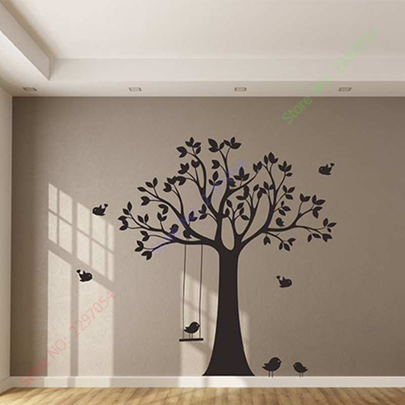 Baby Nursery Tree Wall Sticker Swing Birds Decals For Kids S Room Diy Wallpaper Children Decors In Stickers From Home Garden On