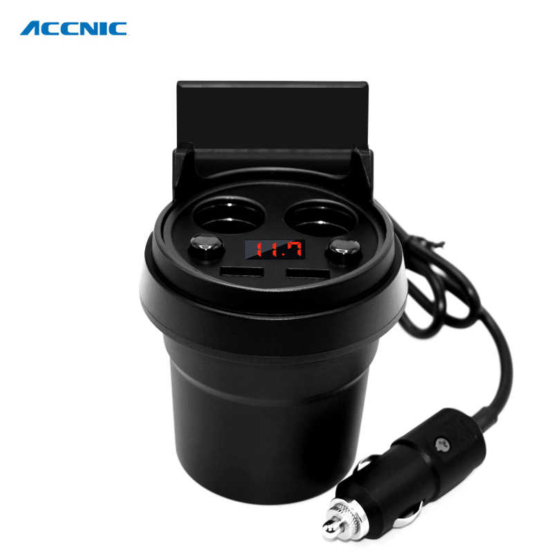 ACCNIC Car Charger Cup Phone Holder Cigarette Lighter Sockets Power Adapter with Dual USB Ports LED  for iPhone Android