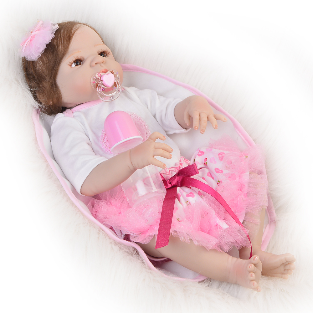 Full Vinyl Reborn Baby Doll Toys Real Like Princess 23'' Lifelike Alive Reborn Dolls Fiber Hair bebe Toddler Xmas Gifts 23 inch full silicone vinyl bebe reborn baby dolls lifelike princess girl handmade toy realistic doll baby alive christmas gift
