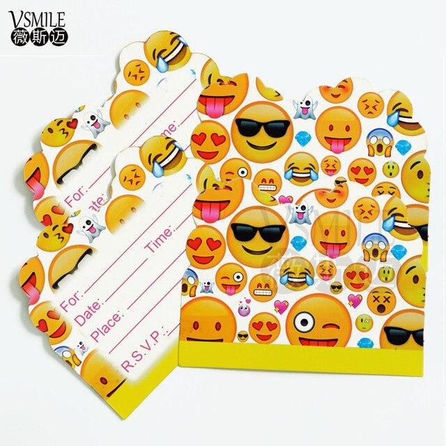 articles de fete 10 pcs emoji pikachu minnie souris trolls theme carte d invitation pour la fete d anniversaire d enfants decoration