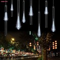 100-240V/US White 50CM Meteor Shower Rain Tubes LED Xmas Christmas Lights Lamp Garden Outdoor Holiday New Year Light Decoration