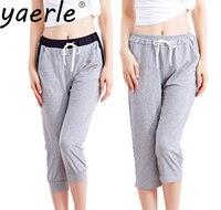 Fashion Summer Women Casual Harem Pants Grey Female Women Skinny Pant Drawstring Calf Length Long Seven