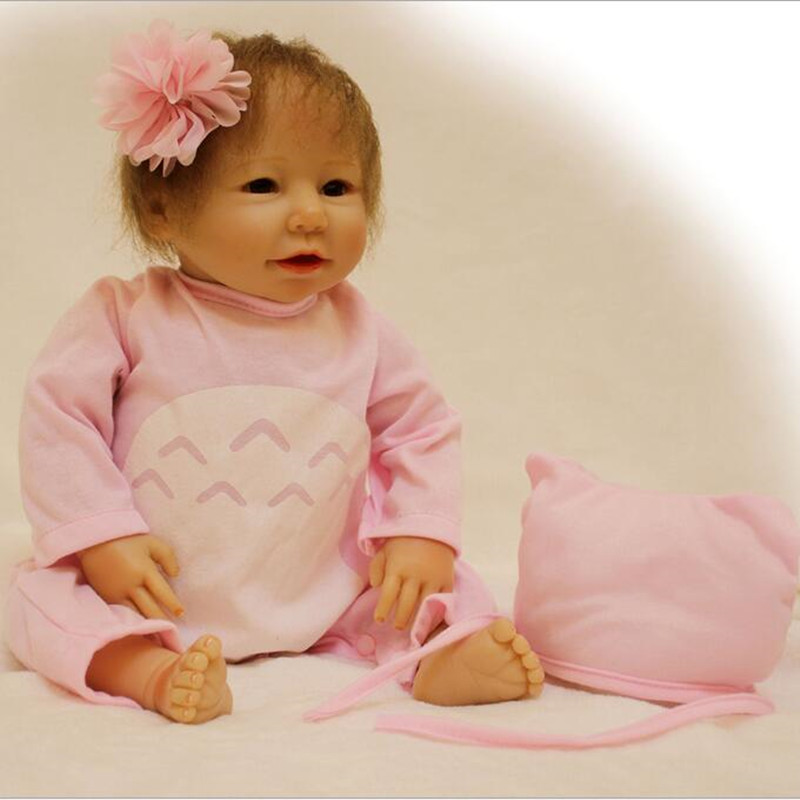 2017 New Arrival Toy Doll Silicone Reborn Babies Doll Lifelike Baby Dolls Gift for Children Smiling Girl Brinquedos Juguetes 2016 cotton body reborn babies lifelike princess girls doll toy rooted mohair gift for baby reborn poupon brinquedos new year