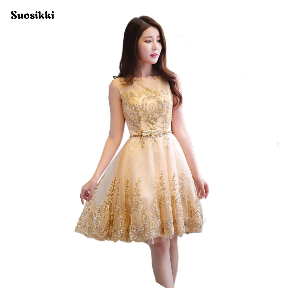 Buy New Tulle Lace Gold Cocktail Dress