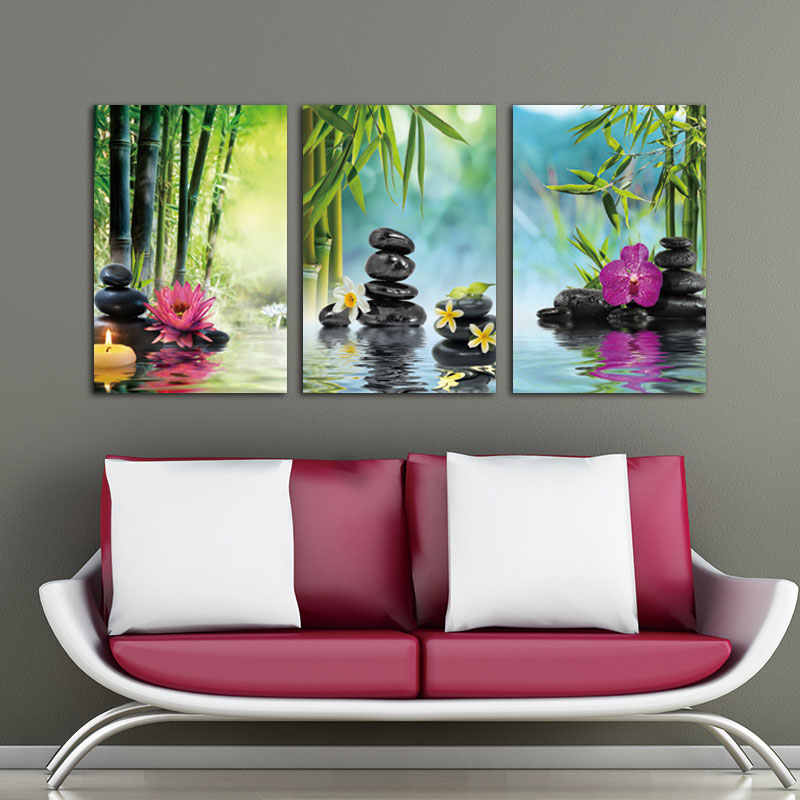Canvas Painting Wall Art picture Decor SPA Stone Green Bamboo Pink 3 Panels Modern Zen Canvas Painting Prints Giclee Art